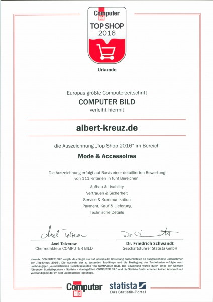 Top Shop 2016 Siegel für ALBERT KREUZ Herrenunterwäsche