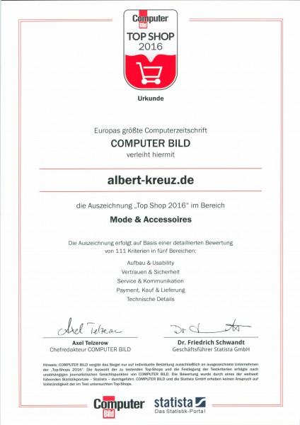 Top Shop 2016 Siegel für ALBERT KREUZ Herrenunterwäsche