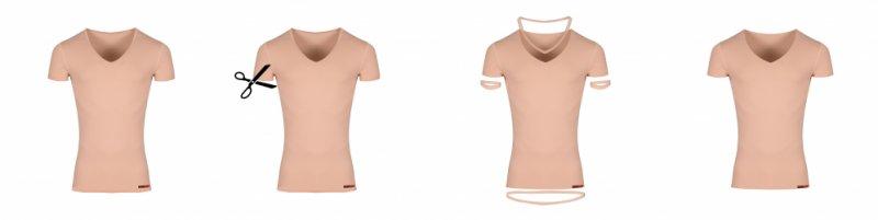 e636beef1a28fc Clean Cut nahtloses unsichtbares Damen-Unterhemd mit tiefem runden  Ausschnitt aus feinster Stretch-Baumwolle in Hautfarbe
