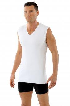 Herren Unterhemd Lasercut nahtlos Clean Cut V-Ausschnitt ohne Arm weiß