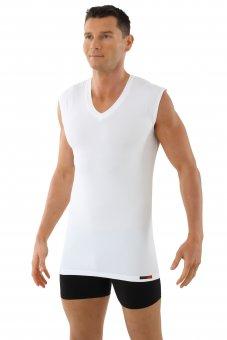 Herren Funktions-Unterhemd Baumwolle-Coolmax V-Ausschnitt ohne Arm weiß