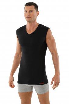Herren Unterhemd Unterzieh-Shirt ohne Arm Schwarz