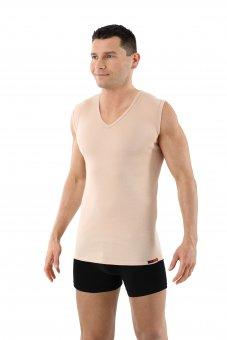 Herren Unterhemd unsichtbar 100% Bio-Baumwolle ohne Arm V-Ausschnitt