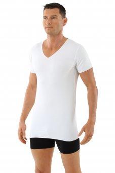 Herren Unterhemd Lasercut nahtlos Clean Cut V-Ausschnitt Kurzarm weiß