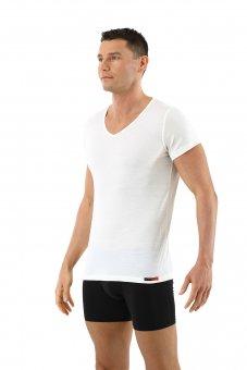 Herren Unterhemd Merino Wolle Kurzarm V-Ausschnitt Woll-Weiß
