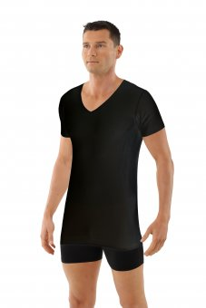 Herren Unterhemd Lasercut nahtlos Clean Cut V-Ausschnitt Kurzarm schwarz