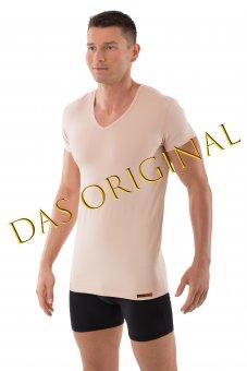 """Hautfarbenes Unterhemd / Herrenunterhemd """"unsichtbar"""" V-Ausschnitt 05/M"""