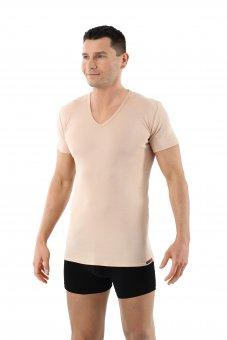 Herren Unterhemd unsichtbar 100% Bio-Baumwolle kurzarm V-Ausschnitt