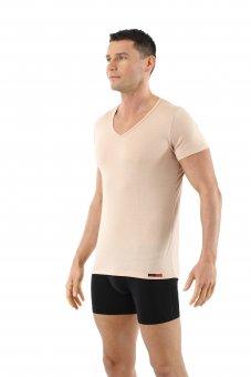 Herren Unterhemd Merino Wolle Kurzarm V-Ausschnitt unsichtbar Hautfarbe