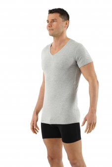 Herrenunterhemd Kurzarm mit V-Ausschnitt Bio-Baumwolle mit Elastan in grau mélange