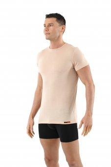Herren Unterhemd Merino Wolle Mulesing-frei Kurzarm Rundhals unsichtbar Hautfarbe