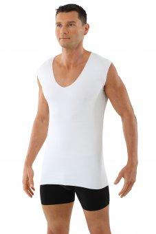 Herren Unterhemd Lasercut nahtlos Clean Cut Deep-V ohne Arm weiß