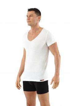 Herren Unterhemd Merino Wolle Kurzarm Deep-V-Neck Woll-Weiß 05/M