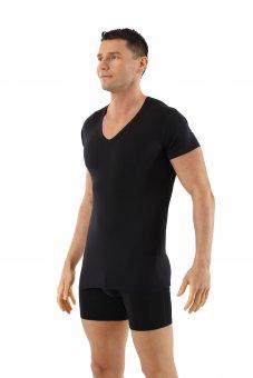 Herren Unterhemd Merino Wolle Mulesing-frei Kurzarm Deep-V-Neck schwarz