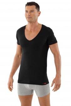Deep-V-Neck-Shirt, Unterzieh-Shirt Schwarz 06/L