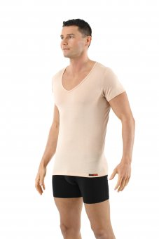 Herren Unterhemd Merino Wolle Kurzarm Deep-V-Neck unsichtbar Hautfarbe 04/S