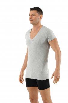 Herrenunterhemd Kurzarm mit extra tiefem V-Ausschnitt Bio-Baumwolle mit Elastan in grau mélange
