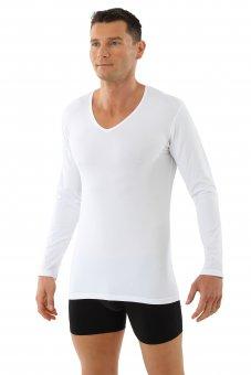 Herren Langarm-Unterhemd Bio-Baumwolle mit Elastan V-Ausschnitt weiß