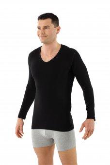 Herren Langarm-Unterhemd Bio-Baumwolle mit Elastan V-Ausschnitt schwarz