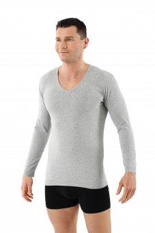 Herren Langarm-Unterhemd Bio-Baumwolle mit Elastan V-Ausschnitt grau