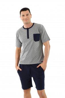 Herren Schlafanzug Kurzarm mit kurzen Hosen Stretch-Baumwolle, Marine-Grau gemustert