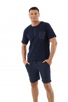 Herren Schlafanzug Kurzarm mit kurzen Hosen Stretch-Baumwolle, Marine gemustert 04/S