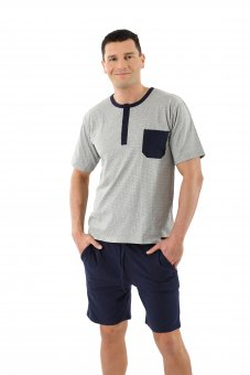 Herren Schlafanzug Kurzarm mit kurzen Hosen Stretch-Baumwolle, Marine - Grau gemustert