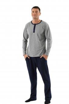 Herren Schlafanzug Langarm mit langen Hosen Stretch-Baumwolle marine - grau gemustert