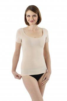 Unsichtbares Damen Kurzarm Unterhemd mit extra weitem und tiefen Ausschnitt für breite Schultern - Stretch-Baumwolle Hautfarbe
