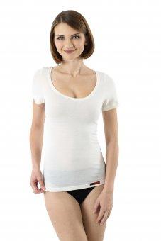 Damen Unterhemd Merino Wolle Kurzarm Woll-Weiß