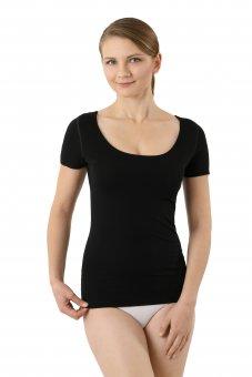 Damen Unterhemd Lasercut nahtlos Clean Cut tiefer Rundausschnitt Kurzarm schwarz