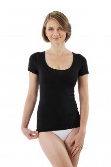 Damen Unterhemd schwarz Kurzarm Micromodal