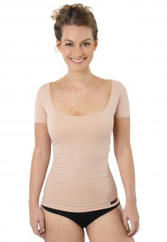 Damen Unterhemd unsichtbar Hautfarbe nude Kurzarm Baumwolle