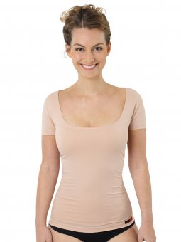 Damen Unterhemd unsichtbar Hautfarbe Kurzarm Baumwolle