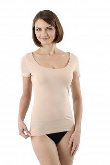 Damen Unterhemd unsichtbar Lasercut nahtlos Clean Cut tiefer Rundausschnitt Kurzarm