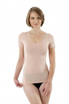 Damen Unterhemd unsichtbar Hautfarbe Kurzarm Micromodal