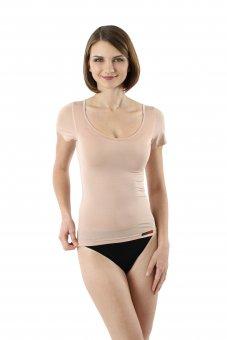Damen Unterhemd unsichtbar Hautfarbe Kurzarm Micromodal 36/XS