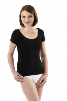 Damen Kurzarm Unterhemd mit tiefem weiten Ausschnitt Stretch-Baumwolle schwarz