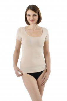 Unsichtbares Damen Kurzarm Unterhemd mit tiefem weiten Ausschnitt Stretch-Baumwolle Hautfarbe