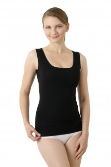 Damen Unterhemd Lasercut nahtlos Clean Cut tiefer Rundausschnitt ohne Arm schwarz