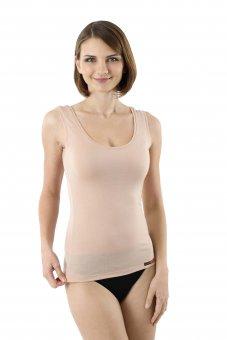 Damen Unterhemd Merino Wolle ohne Arm unsichtbar Hautfarbe
