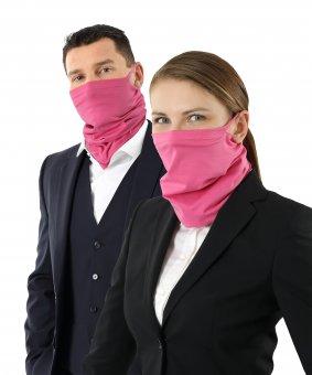 Schlauchschal über Mund und Nase zu ziehen aus feiner Bio-Baumwolle Pink