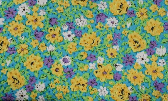 Plastron Gelb, Gruen, Blau - Blumen, Dessin 200040