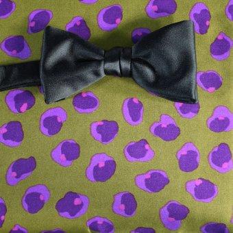 Schleife-Fliege Gruen, Violett - Blumen, Dessin 200041