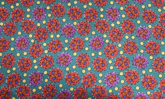 Krawatte Rot, Gelb, Gruen, Violett - gemustert, Dessin 200048