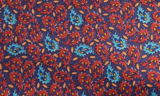 Kummerbund Rot, Blau, Orange - Paisley, Dessin 200050