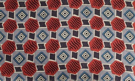 Plastron Terracotta, Blau, Weiß - gemustert, Dessin 200054