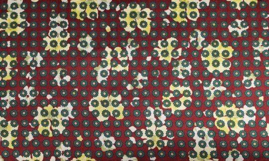 Seidenschal Gelb, Gruen, Weinrot - Blumen, Dessin 200056
