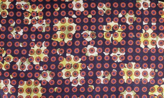 Einstecktuch Rot, Gelb, Marine - Blumen, Dessin 200057