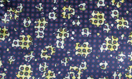 Kummerbund Rot, Gelb, Marine - Blumen, Dessin 200058